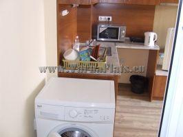 Кухонный уголок и стиральная машина в гостинной.
